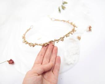 Gold Wedding Circlet \ Boho Bridal Headpiece Twig Crown Botanical Golden Twigs Headband Gold Wedding Crown