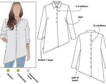 Crystal Overshirt PDF Sewing Pattern // Sizes 12, 14 and 16 // Digital PDF sewing pattern by Style Arc