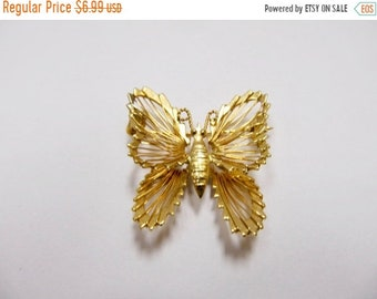 On Sale Vintage Gold Tone Wire Design Butterfly Pin Item K # 1720