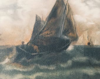 Nautical Painting of Battle at Sea - Pastel? - Mystery Artist - Vintage