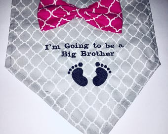 Big Brother, Dog Bandana, pregnancy announcement, Gender Reveal,  Photo Shoot, New Baby, Baby present, Dog Lovers Gift, Baby Shower gift
