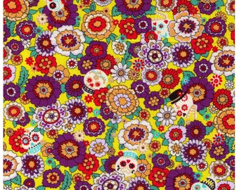 CLEARANCE 1/2 Yard - Cosmo Textiles, Yellow Background, Japanese, Skulls, Flowers, Calico, Day of the Dead, Dia de los Muertos