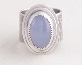 Beautiful Blue Chalcedony and Silver Ring