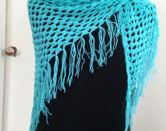 Crochet Granny Shawl Wrap in Turquoise blue, Boho Hippie Gypsy Festival style for Spring & cool Summer evenings, Gift for Her, Women, Teens