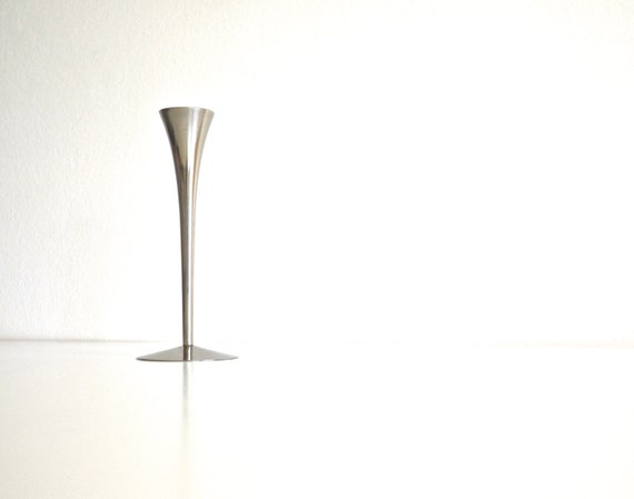 SALE * Mid Century Silver Italian Candle Holder