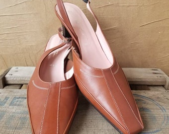 Women's Genuine Leather Amalfi Burnt Sienna/Brown  SlingBack, heels, pumps, shoes