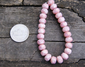 8x6mm Czech Glass Rondelles in Pink/Fuchsia and White Beads (25)
