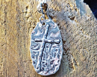 Cross necklace, hammered silver plate, religious pendant, free shipping and gift box