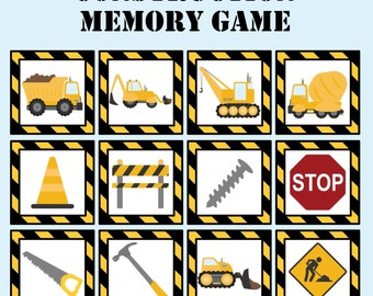 Construction Memory and Matching Game. Construction Game. Instant Digital Download. Dump Truck. Preschool Game. Party Game