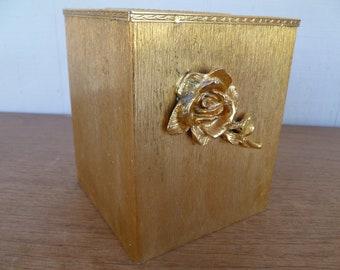 Beautiful Gold Metal Bath Kleenex Tissue Storage Box Hollywood Regency