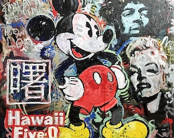 Collage Art Original Painting on Canvas by Matt Pecson CUSTOM Painting Large Wall Art Pop Art Painting Modern Art Living Room Decor