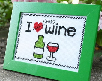 I Need Wine cross-stitch kit