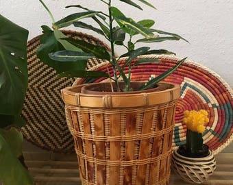 Vintage Woven Wicker Rattan Basket Planter w Feet