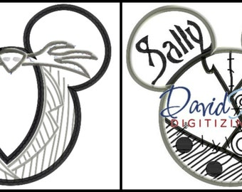 Off Mickey head Nightmare Before Christmas Jack & Sally 2 Pack  - Applique - Instant Download - David Taylor Digitizing