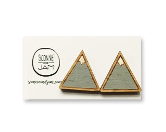 Wood laser cut earrings - snow capped mountain triangle grey white twin peaks hand painted