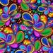 Quilting Treasures - Carnivale - 26372-J - Paisley - © Debi Payne - Geometric - Vivid Color - Blue - Pink - Black - Green - One More Yard