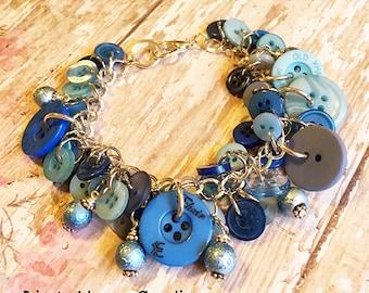 Blue Sewing Button Bracelet, Button Bracelet, Blue Button, Button Charm Bracelet, Charm Bracelet, Sewing Charm Bracelet, Button