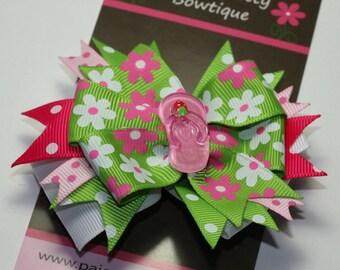 "CLOSEOUT- 3.5"" Pink & Green Summer Flip Flop Hair Bow-Alligator Clip"