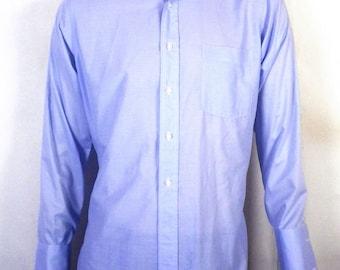 vtg 60s Stix Baer & Fuller by Hathaway Blue Button Down Dress Shirt french M 34