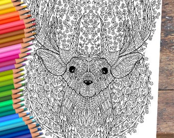 Floral Deer Colouring Page