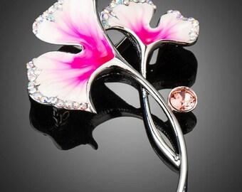 Artistic Hot Pink Crystal Flower Brooch Pin