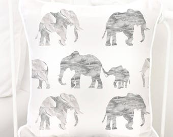 Gray Marble Elephant Parade Square Pillow | Grey, White, Marble, Elephants, Modern, Gender Neutral, Baby Glider Nursery Pillow