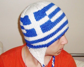 Greek Flag Hat, Knit Hat Men's Hat, Women's Hat, Winter hat, Mens, Womens Accessories, Blue, White hat with Greek gift for her him