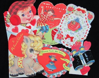 1940s Flocked Valentine Card Lot of 6 - kids, pony, hearts