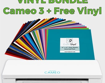 Silhouette Cameo 3 +  32 Pack of Crafter Depot Adhesive Vinyl, Silhouette Cameo 3, Cameo Machine, 651 Vinyl Sheets, Free Vinyl, Holiday Deal