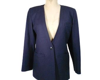 vintage 1980's YVES SAINT LAURENT jacket / rive gauche Paris / navy blue / wool / 80s blazer / women's vintage jacket / tag size 40