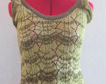 small top pure cotton knit hand