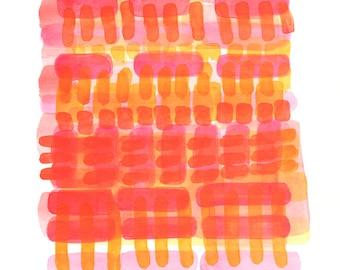 Original Watercolor Painting, Modern Abstract Art, Minimalist Art, Yellow, Red