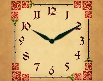 AC06 Roman Rose Red and Green - Clock Faces, Clock Dials
