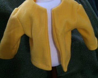 """Bright Yellow fleece jacket for American Girl 18"""" doll - free shipping"""