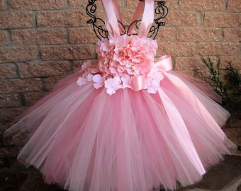 BABY PINK FLOWERS, Pink Tutu Dress, Flower Girl Gown, Pageant Girl Dress, First Birthday Tutu, Pink Flowers Dress, Baptism Gown, Baby Gifts