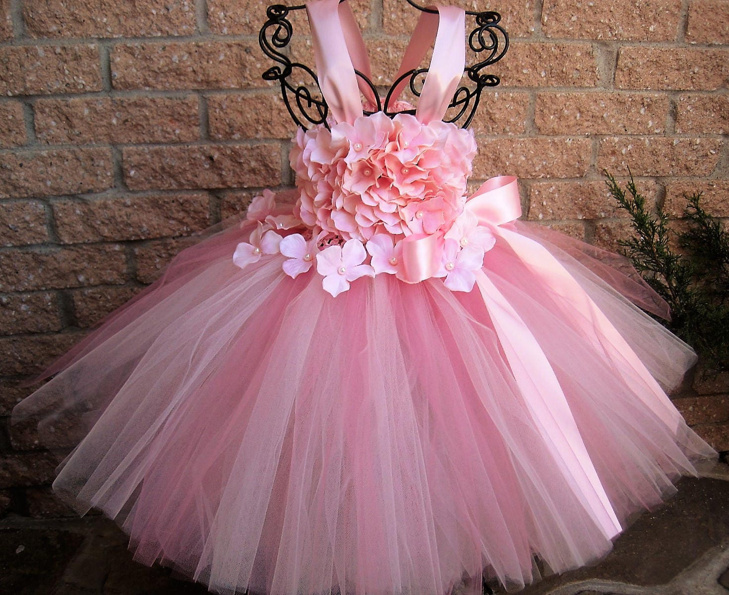 BABY PINK FLOWERS Pink Tutu Dress Flower Girl Gown