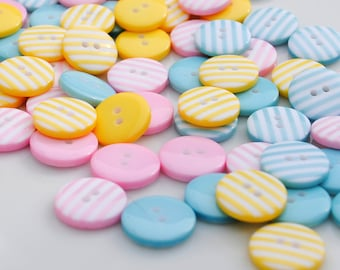 Candy Stripes - 30 Stripy Buttons (12mm)