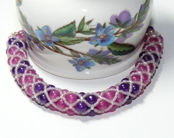 Spectacular Purple & Rose Woven Netted Rope Beaded Handmade Bracelet