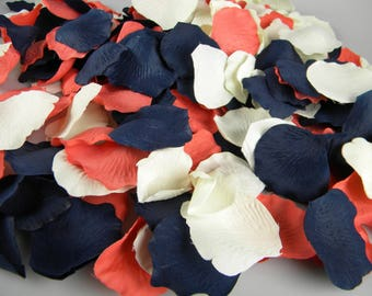 Coral Navy & Ivory Wedding Artificial Rose Petals   500   Flower Basket Petals   Aisle Decoration   Table Scatter Tossing Petals