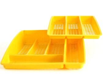 Deka Flatware Organizer 2 Tier Silverware Tray 195 196 Large Yellow Plastic