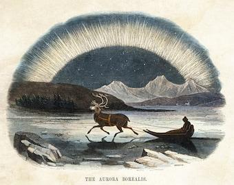 "Vintage Natural History Print ""Aurora Borealis"" Victorian Exploration - Arctic Winter Antique Print"