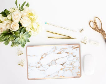 Macbook Pro 13 Case . Bianco Sivec Gold Veins Marble . Macbook Air Case . Laptop Case . Macbook Case . Rose Gold . Hard Case