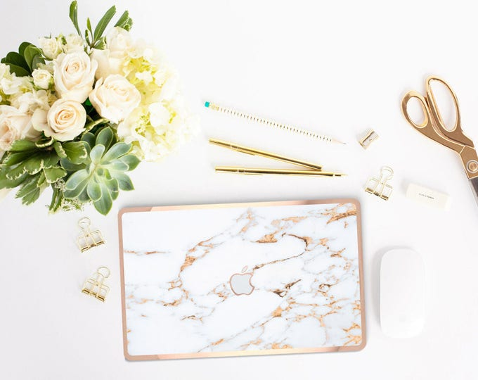 Featured listing image: Macbook Pro 13 Case Macbook Air Case Laptop Case Macbook Decal Marble  Case and Rose Gold Edge Detailing              Bianco Sivec Gold
