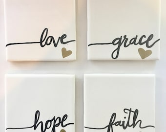 Hand Lettered Coasters: Love, Grace, Hope, Faith