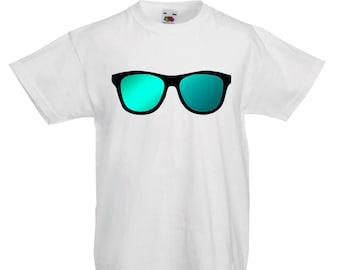 Kids Sunglasses T-Shirt / Childrens Summer T-Shirt in Light Blue, White, Pink and Grey Age: 3-4, 5-6, 7-8, 9-11, 12-13
