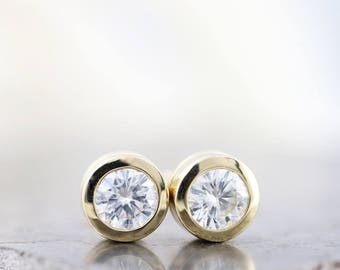 14k Yellow Gold Forever One Near Colorless Moissanite Stud Earrings - 1 Carat Total Weight - Diamond Alternative 5mm Stones - Made to Order
