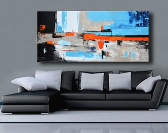 "75"" Large ABSTRACT PAINTING White Blue Orange Gray Black Painting Original Canvas Art Modern Painting Wall Decor #35Ci5"
