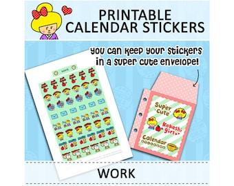 PRINTABLE Cute Kawaii Kokeshi Doll Calendar Stickers for Filofax Organizer Instant Download