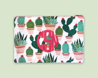 Monogram Makeup Bag, Cactus Accessories, Cactus Zipper Bag, Personalized Pouch, Personalized Bridesmade Makeup Bag, Cactus Lovers, Pouch Bag