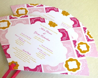 Mexican Wedding Programs - Mexico Tile Fan Program - Talavera Tile Ceremony Program
